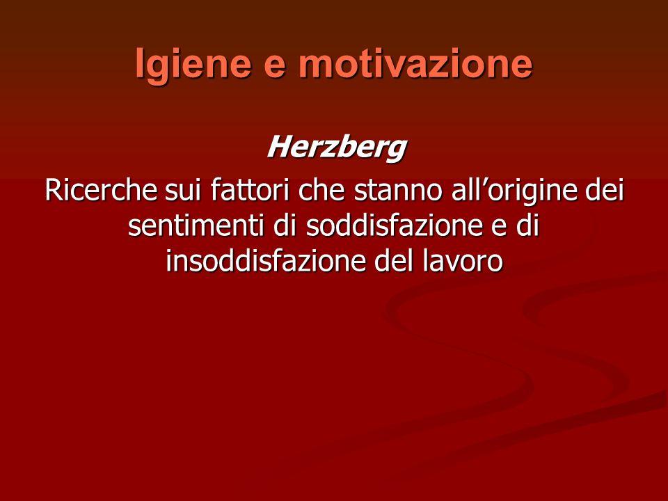 Igiene e motivazione Herzberg Ricerche sui fattori che stanno allorigine dei sentimenti di soddisfazione e di insoddisfazione del lavoro