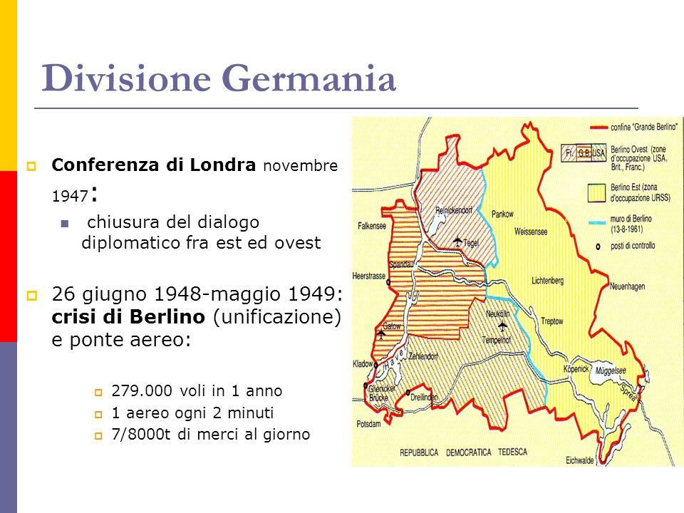 Divisione Germania Conferenza di Londra novembre 1947 : chiusura del dialogo diplomatico fra est ed ovest 26 giugno 1948-maggio 1949: crisi di Berlino