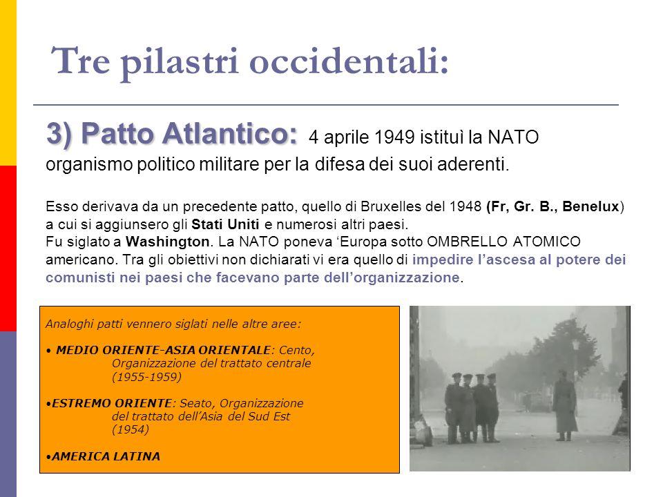 3) Patto Atlantico: 3) Patto Atlantico: 4 aprile 1949 istituì la NATO organismo politico militare per la difesa dei suoi aderenti. Esso derivava da un