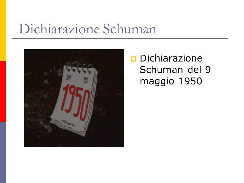 Dichiarazione Schuman Dichiarazione Schuman del 9 maggio 1950