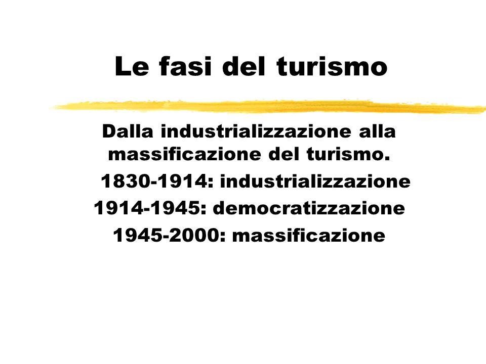 Le fasi del turismo Dalla industrializzazione alla massificazione del turismo. 1830-1914: industrializzazione 1914-1945: democratizzazione 1945-2000: