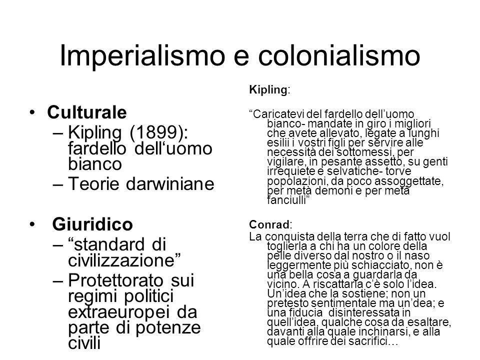 Imperialismo e colonialismo Culturale –Kipling (1899): fardello delluomo bianco –Teorie darwiniane Giuridico –standard di civilizzazione –Protettorato