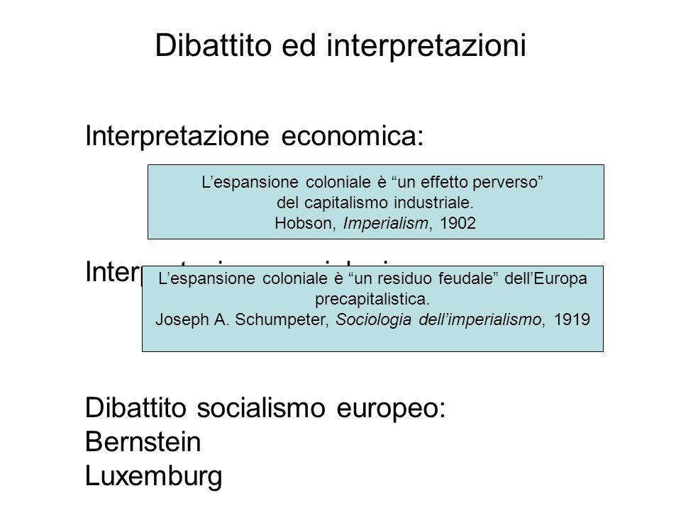 Dibattito ed interpretazioni Interpretazione economica: Interpretazione sociologica: Dibattito socialismo europeo: Bernstein Luxemburg Lespansione col