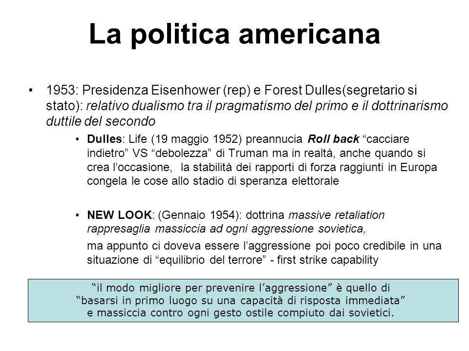 La politica americana 1953: Presidenza Eisenhower (rep) e Forest Dulles(segretario si stato): relativo dualismo tra il pragmatismo del primo e il dott