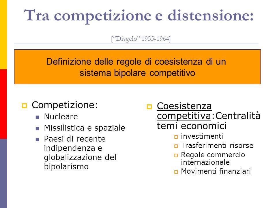 Tra competizione e distensione: [Disgelo 1955-1964] Coesistenza competitiva:Centralità temi economici investimenti Trasferimenti risorse Regole commer