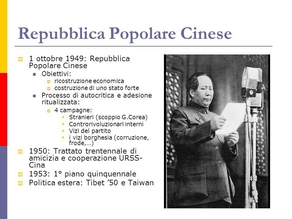 Repubblica Popolare Cinese 1 ottobre 1949: Repubblica Popolare Cinese Obiettivi: ricostruzione economica costruzione di uno stato forte Processo di au