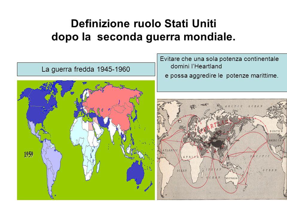 La guerra fredda 1945-1960 Evitare che una sola potenza continentale domini lHeartland e possa aggredire le potenze marittime. Definizione ruolo Stati