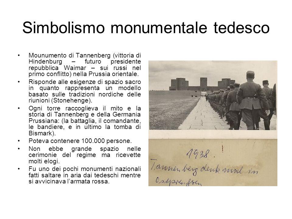 Simbolismo monumentale tedesco Mounumento di Tannenberg (vittoria di Hindenburg – futuro presidente repubblica Waimar – sui russi nel primo conflitto)