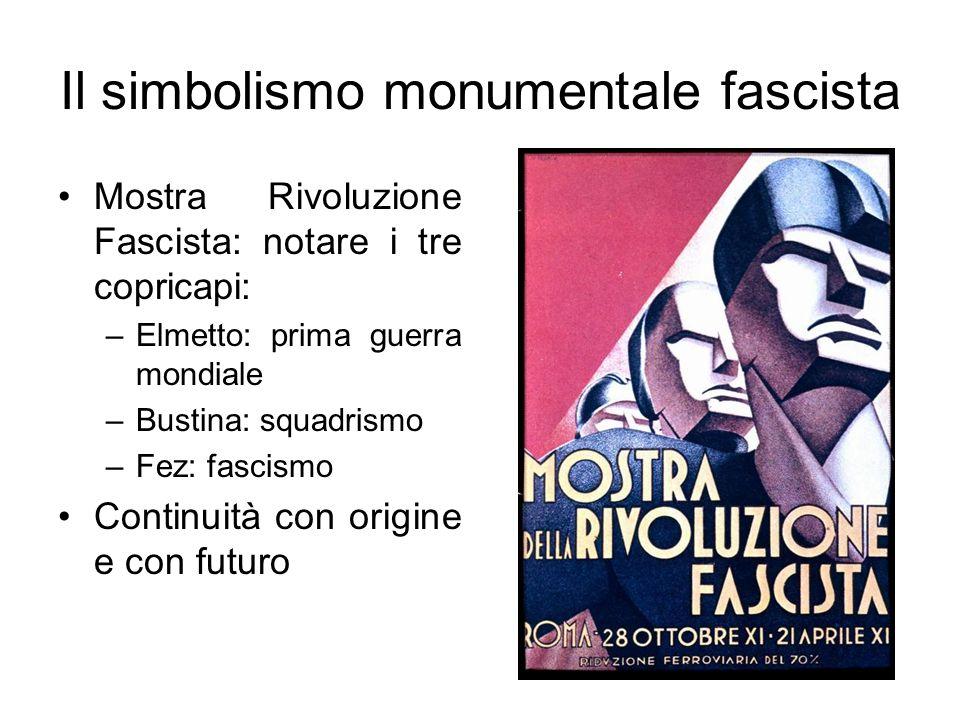 Il simbolismo monumentale fascista Mostra Rivoluzione Fascista: notare i tre copricapi: –Elmetto: prima guerra mondiale –Bustina: squadrismo –Fez: fas