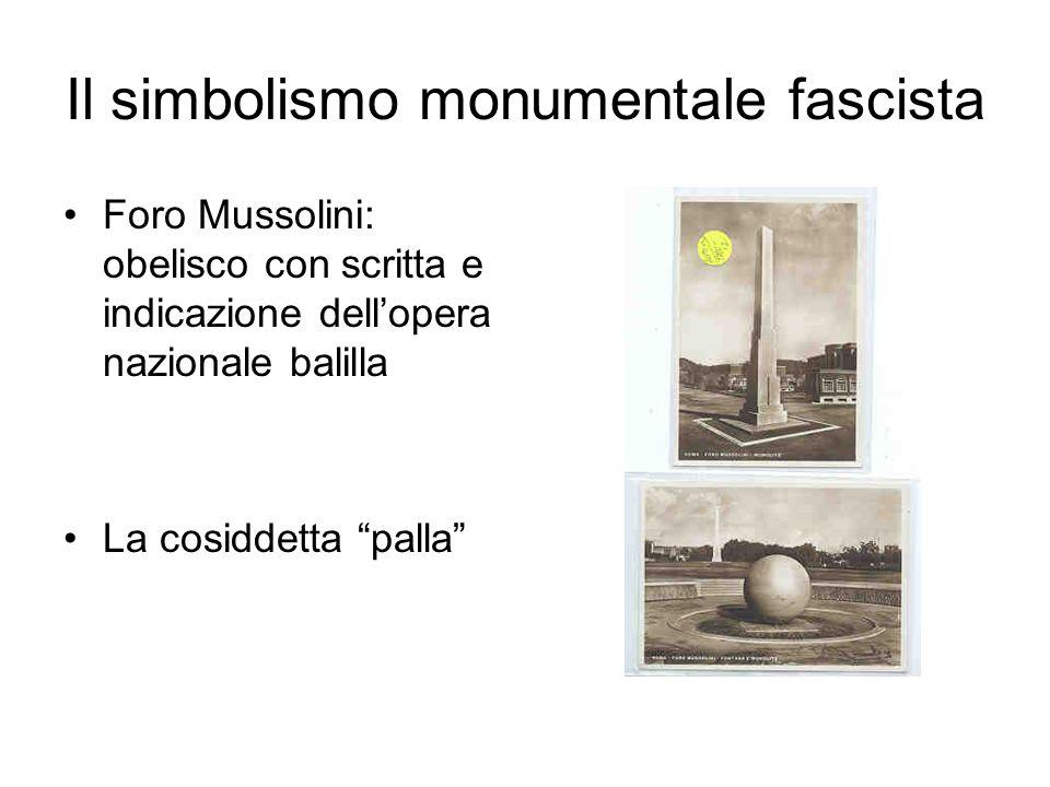 Il simbolismo monumentale fascista Foro Mussolini: obelisco con scritta e indicazione dellopera nazionale balilla La cosiddetta palla