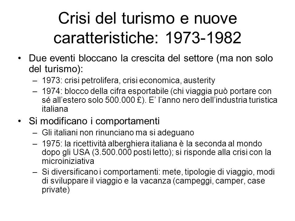 Crisi del turismo e nuove caratteristiche: 1973-1982 Due eventi bloccano la crescita del settore (ma non solo del turismo): –1973: crisi petrolifera,