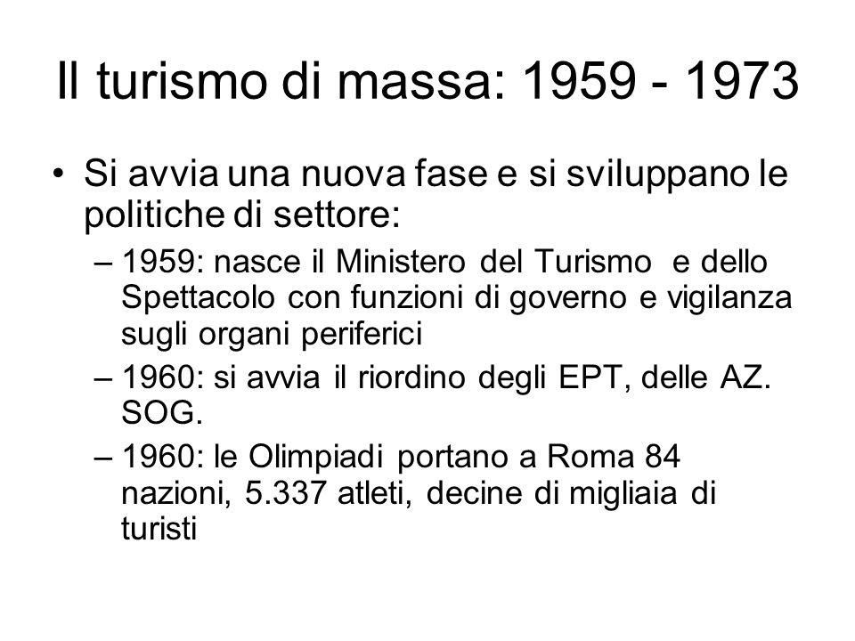 Il turismo di massa: 1959 - 1973 Si avvia una nuova fase e si sviluppano le politiche di settore: –1959: nasce il Ministero del Turismo e dello Spetta