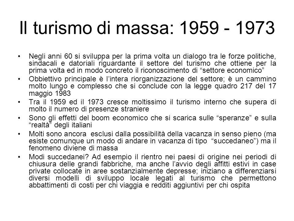 Il turismo di massa: 1959 - 1973 Negli anni 60 si sviluppa per la prima volta un dialogo tra le forze politiche, sindacali e datoriali riguardante il settore del turismo che ottiene per la prima volta ed in modo concreto il riconoscimento di settore economico Obbiettivo principale è lintera riorganizzazione del settore; è un cammino molto lungo e complesso che si conclude con la legge quadro 217 del 17 maggio 1983 Tra il 1959 ed il 1973 cresce moltissimo il turismo interno che supera di molto il numero di presenze straniere Sono gli effetti del boom economico che si scarica sulle speranze e sulla realtà degli italiani Molti sono ancora esclusi dalla possibilità della vacanza in senso pieno (ma esiste comunque un modo di andare in vacanza di tipo succedaneo) ma il fenomeno diviene di massa Modi succedanei.