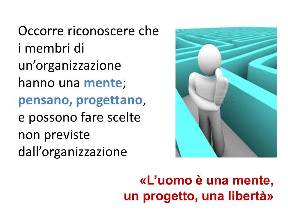 Occorre riconoscere che i membri di unorganizzazione hanno una mente; pensano, progettano, e possono fare scelte non previste dallorganizzazione «Luomo è una mente, un progetto, una libertà»
