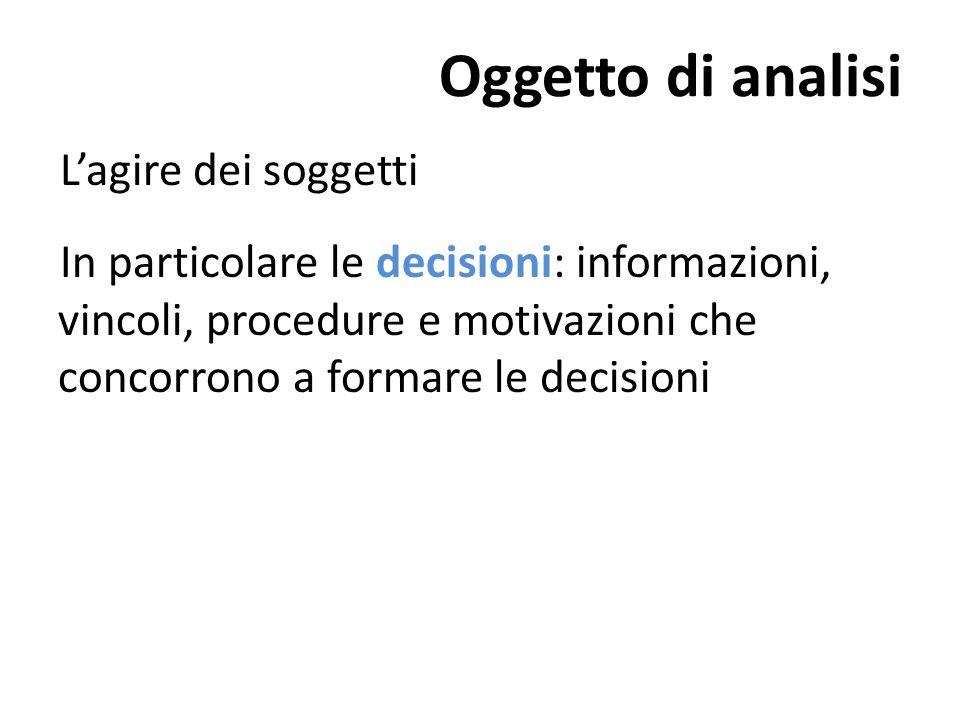 Oggetto di analisi Lagire dei soggetti In particolare le decisioni: informazioni, vincoli, procedure e motivazioni che concorrono a formare le decisioni