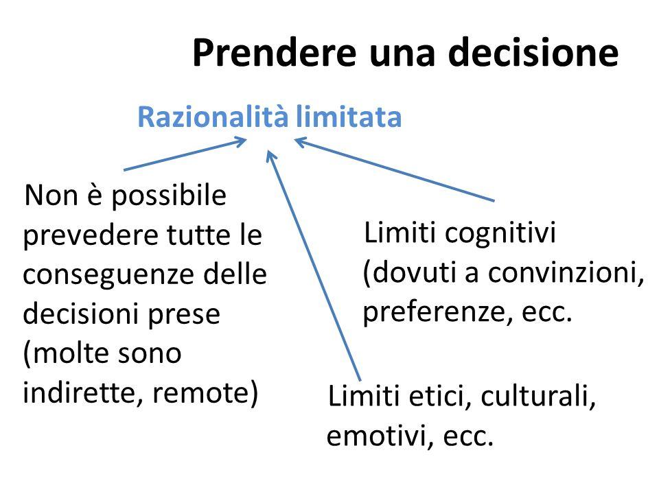 … dunque Non reificare le organizzazioni, ossia non considerarle come cose dotate di vita propria indipendente dallazione dei singoli Le decisioni che prende (che sono decisioni dei singoli membri) non rispondono solo a un criterio di razionalità