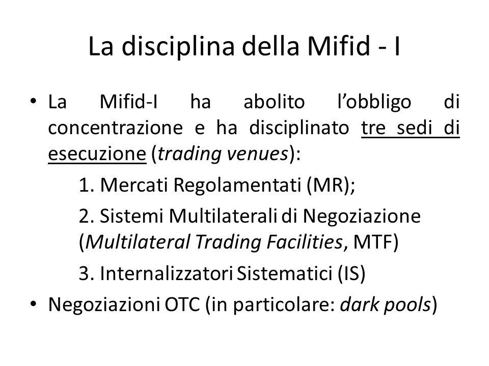 La disciplina della Mifid - I La Mifid-I ha abolito lobbligo di concentrazione e ha disciplinato tre sedi di esecuzione (trading venues): 1. Mercati R