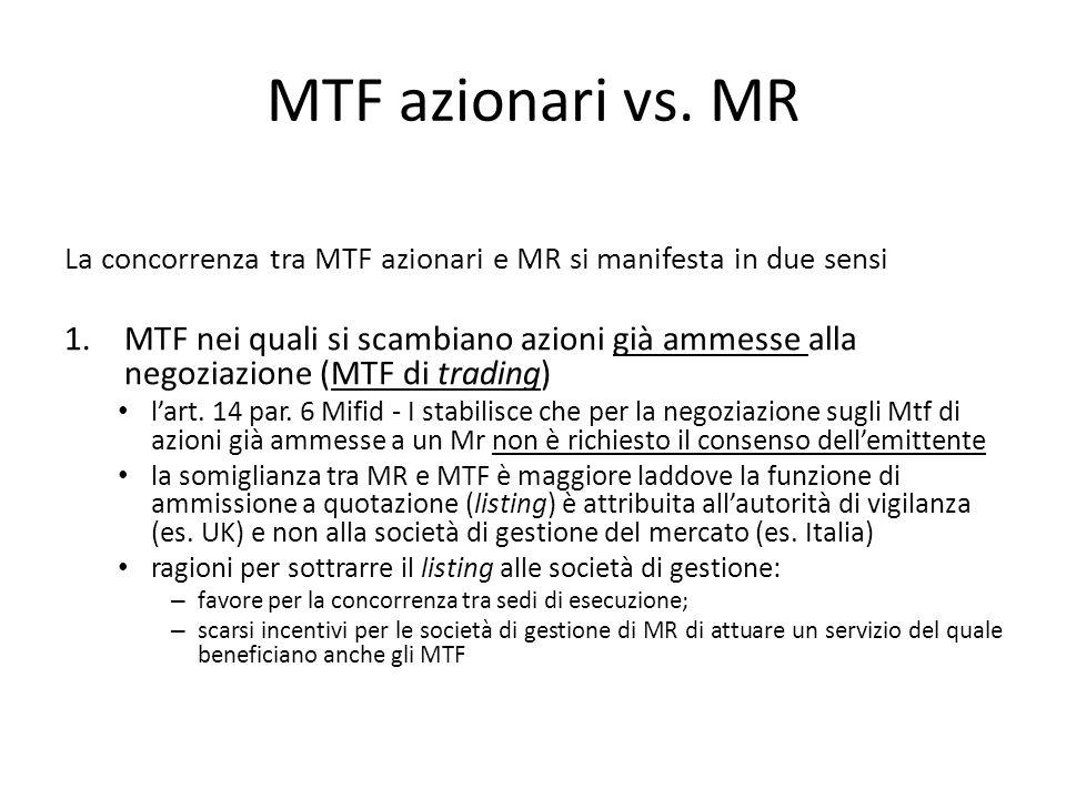 MTF azionari vs. MR La concorrenza tra MTF azionari e MR si manifesta in due sensi 1.MTF nei quali si scambiano azioni già ammesse alla negoziazione (