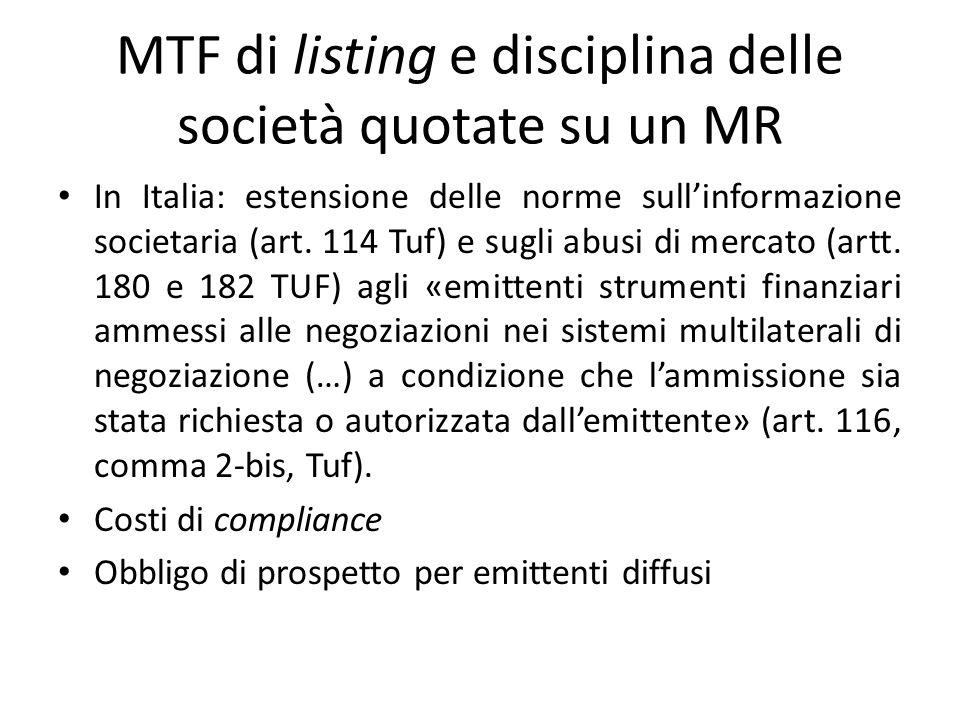 MTF di listing e disciplina delle società quotate su un MR In Italia: estensione delle norme sullinformazione societaria (art. 114 Tuf) e sugli abusi