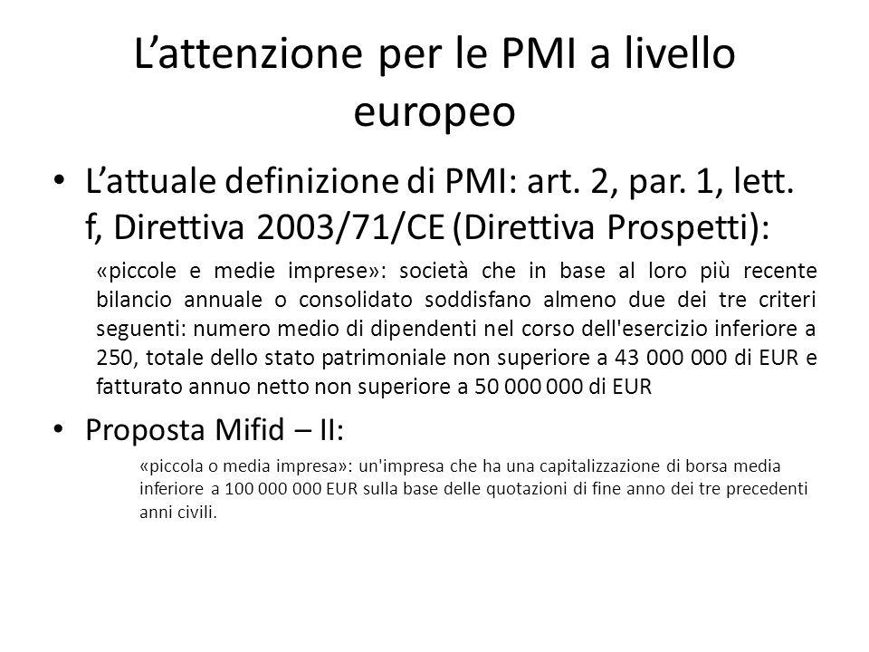 Lattenzione per le PMI a livello europeo Lattuale definizione di PMI: art. 2, par. 1, lett. f, Direttiva 2003/71/CE (Direttiva Prospetti): «piccole e