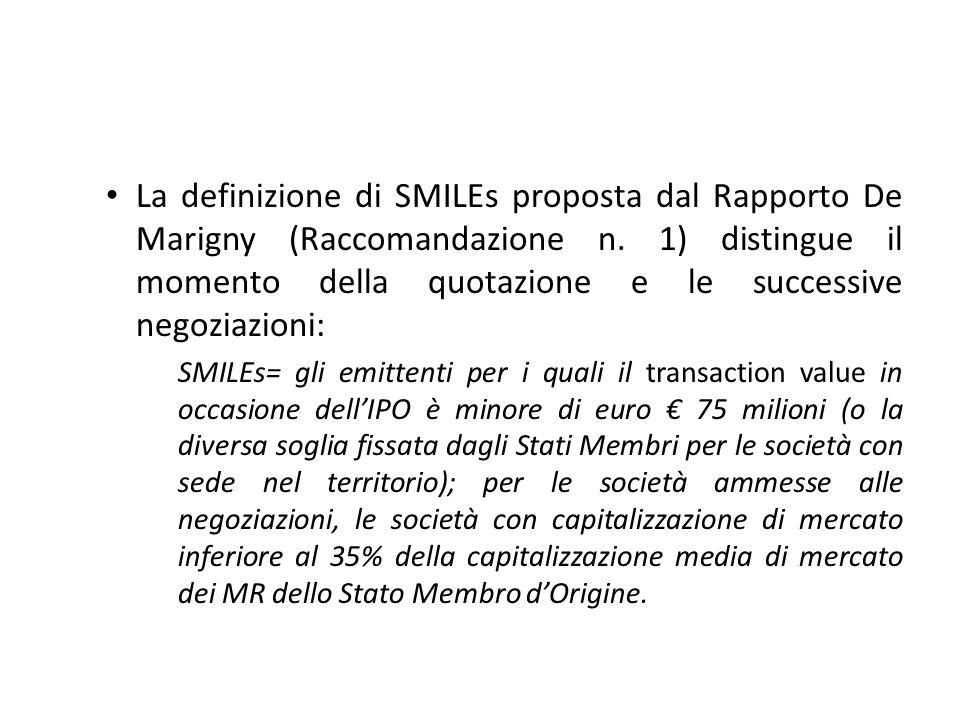 La definizione di SMILEs proposta dal Rapporto De Marigny (Raccomandazione n. 1) distingue il momento della quotazione e le successive negoziazioni: S