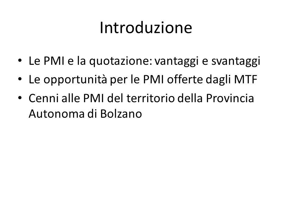 Introduzione Le PMI e la quotazione: vantaggi e svantaggi Le opportunità per le PMI offerte dagli MTF Cenni alle PMI del territorio della Provincia Au