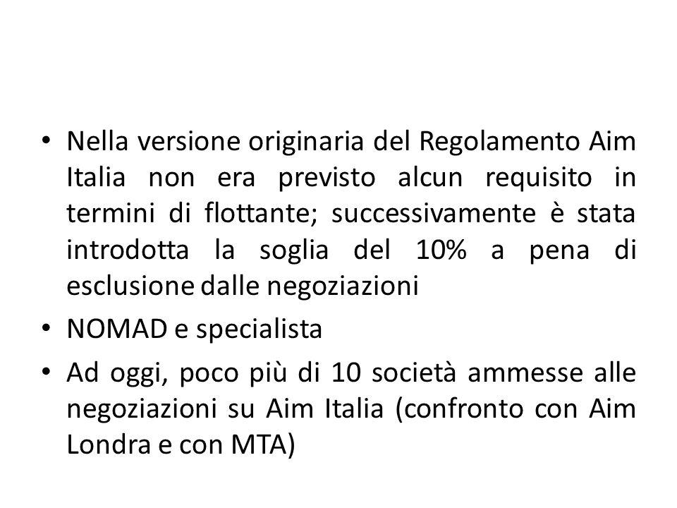 Nella versione originaria del Regolamento Aim Italia non era previsto alcun requisito in termini di flottante; successivamente è stata introdotta la s