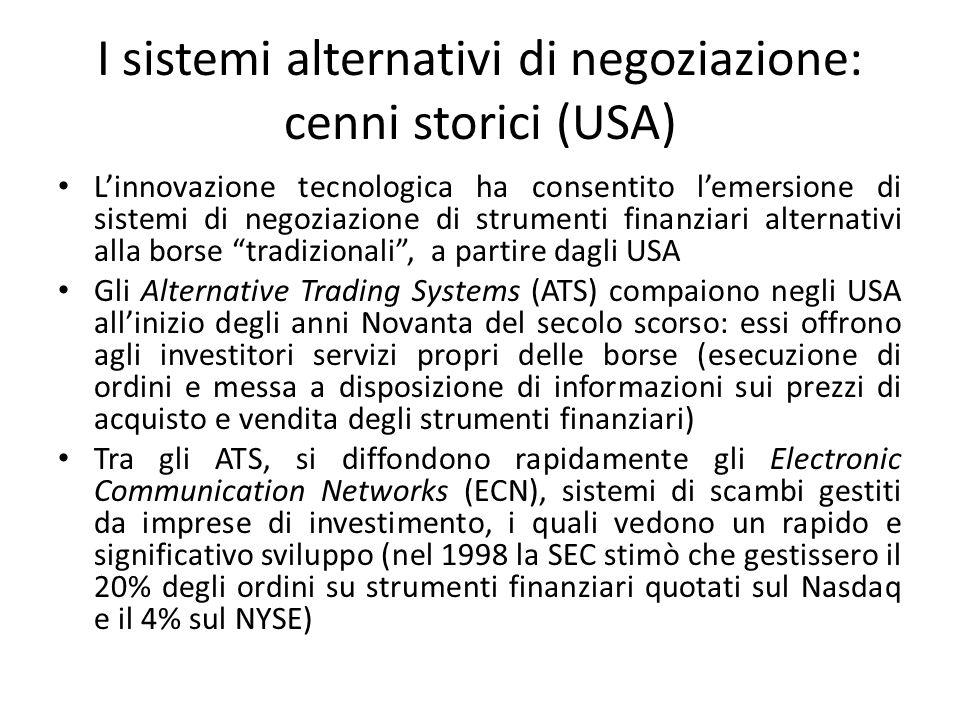I sistemi alternativi di negoziazione: cenni storici (USA) Linnovazione tecnologica ha consentito lemersione di sistemi di negoziazione di strumenti f