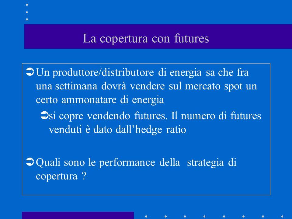 La copertura con futures Un produttore/distributore di energia sa che fra una settimana dovrà vendere sul mercato spot un certo ammonatare di energia si copre vendendo futures.