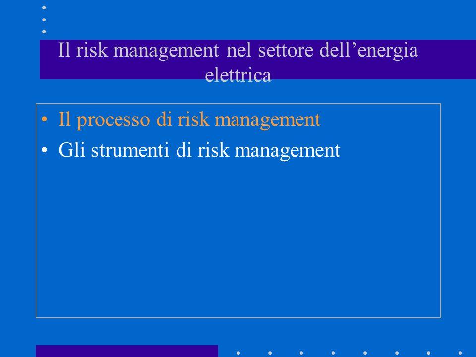 Il risk management nel settore dellenergia elettrica Il processo di risk management Gli strumenti di risk management