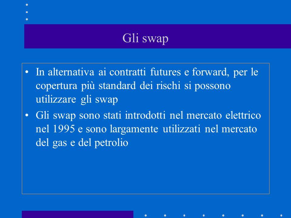 Gli swap In alternativa ai contratti futures e forward, per le copertura più standard dei rischi si possono utilizzare gli swap Gli swap sono stati introdotti nel mercato elettrico nel 1995 e sono largamente utilizzati nel mercato del gas e del petrolio