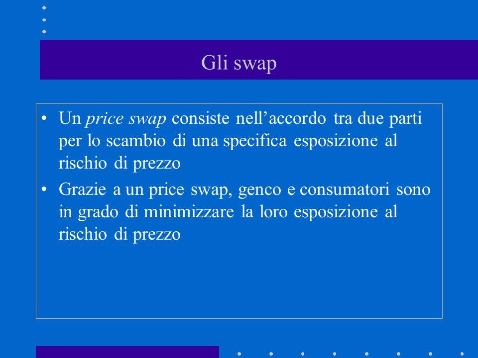Gli swap Un price swap consiste nellaccordo tra due parti per lo scambio di una specifica esposizione al rischio di prezzo Grazie a un price swap, genco e consumatori sono in grado di minimizzare la loro esposizione al rischio di prezzo