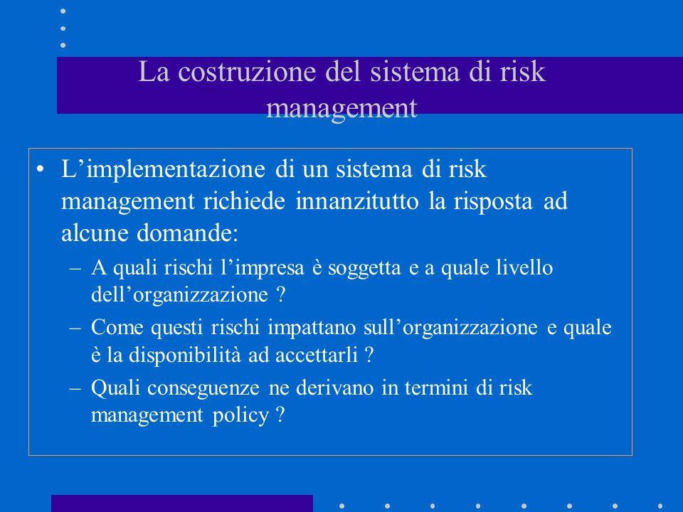 La costruzione del sistema di risk management Limplementazione di un sistema di risk management richiede innanzitutto la risposta ad alcune domande: –A quali rischi limpresa è soggetta e a quale livello dellorganizzazione .