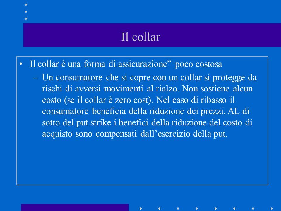 Il collar Il collar è una forma di assicurazione poco costosa –Un consumatore che si copre con un collar si protegge da rischi di avversi movimenti al rialzo.