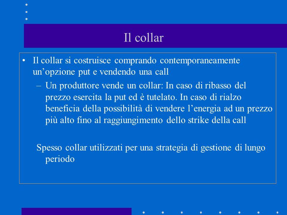 Il collar Il collar si costruisce comprando contemporaneamente unopzione put e vendendo una call –Un produttore vende un collar: In caso di ribasso del prezzo esercita la put ed è tutelato.