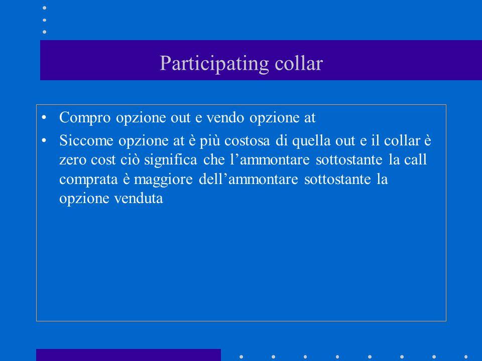 Participating collar Compro opzione out e vendo opzione at Siccome opzione at è più costosa di quella out e il collar è zero cost ciò significa che lammontare sottostante la call comprata è maggiore dellammontare sottostante la opzione venduta