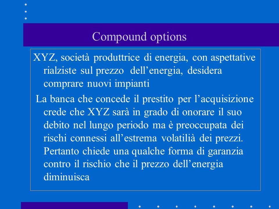 Compound options XYZ, società produttrice di energia, con aspettative rialziste sul prezzo dellenergia, desidera comprare nuovi impianti La banca che concede il prestito per lacquisizione crede che XYZ sarà in grado di onorare il suo debito nel lungo periodo ma è preoccupata dei rischi connessi allestrema volatilià dei prezzi.