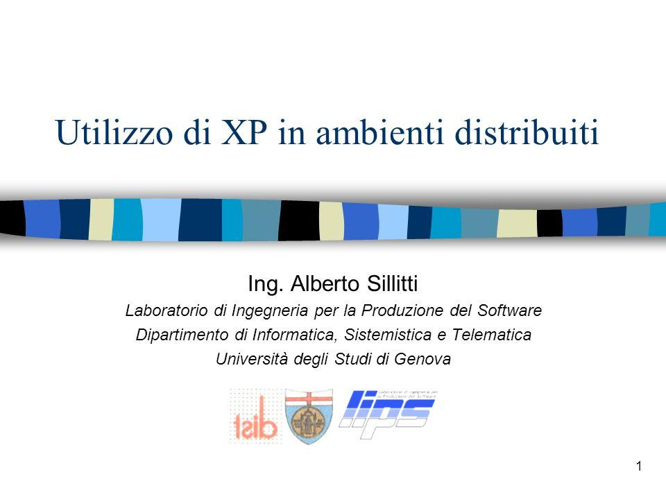 1 Utilizzo di XP in ambienti distribuiti Ing. Alberto Sillitti Laboratorio di Ingegneria per la Produzione del Software Dipartimento di Informatica, S