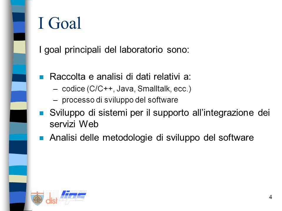 4 I Goal I goal principali del laboratorio sono: n Raccolta e analisi di dati relativi a: –codice (C/C++, Java, Smalltalk, ecc.) –processo di sviluppo