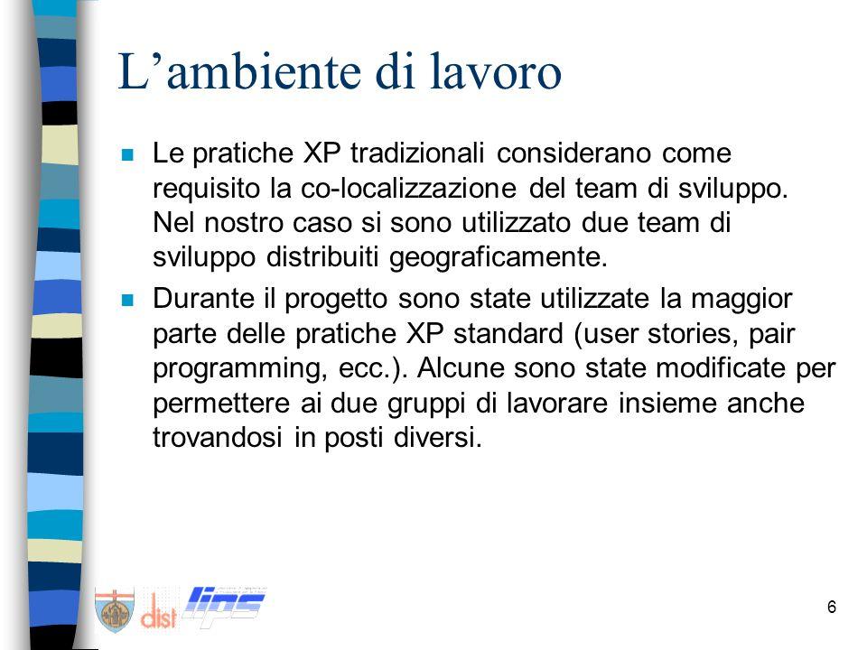 6 Lambiente di lavoro n Le pratiche XP tradizionali considerano come requisito la co-localizzazione del team di sviluppo. Nel nostro caso si sono util