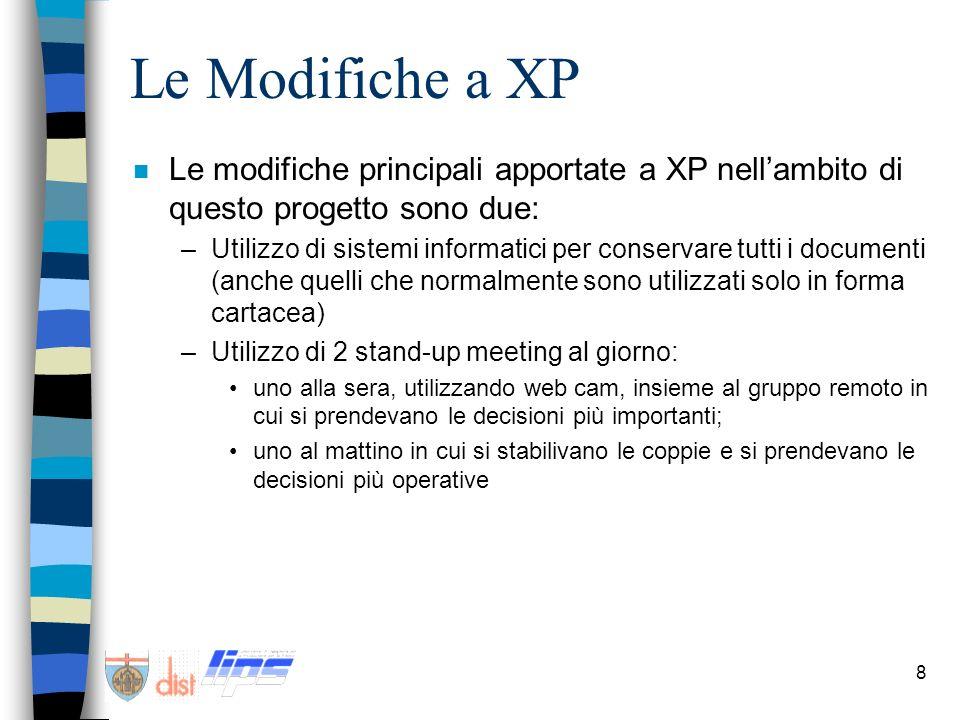 9 Conclusioni n Lapplicazione di XP in ambiente distribuito è risultata piuttosto difficoltosa a causa della sensibile differenza di fuso orario.