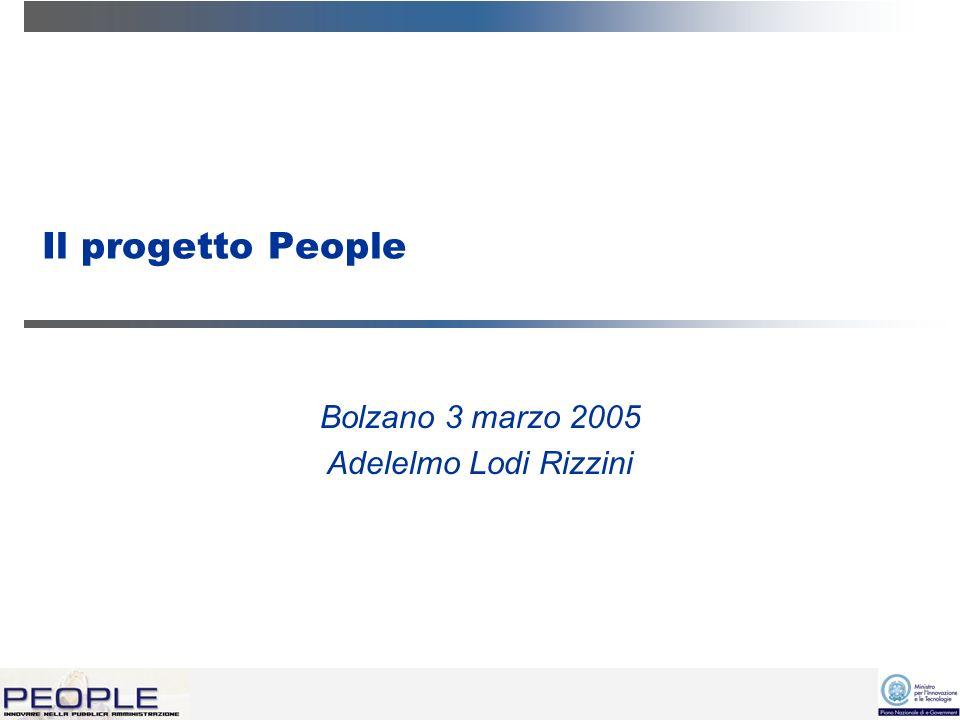 Il progetto People Bolzano 3 marzo 2005 Adelelmo Lodi Rizzini