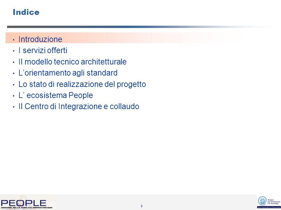 2 Indice Introduzione I servizi offerti Il modello tecnico architetturale Lorientamento agli standard Lo stato di realizzazione del progetto L ecosistema People Il Centro di Integrazione e collaudo