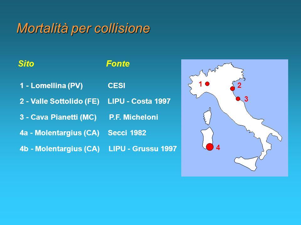 Mortalità per collisione 1 - Lomellina (PV) CESI Sito Fonte 2 - Valle Sottolido (FE) LIPU - Costa 1997 3 - Cava Pianetti (MC) P.F. Micheloni 4a - Mole