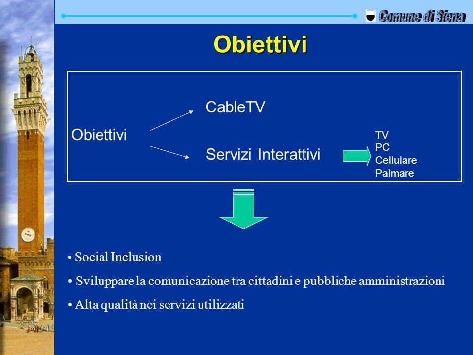 Social Inclusion Sviluppare la comunicazione tra cittadini e pubbliche amministrazioni Alta qualità nei servizi utilizzati Obiettivi CableTV Servizi I