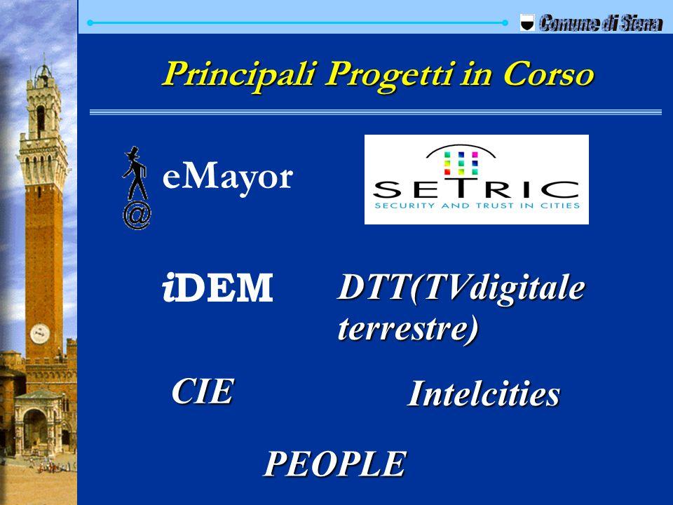 Principali Progetti in Corso eMayor i DEM DTT(TVdigitale terrestre) CIE Intelcities PEOPLE