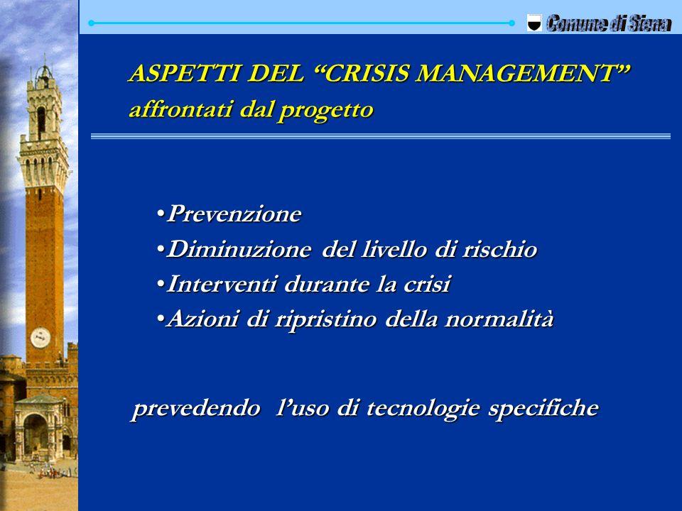 ASPETTI DEL CRISIS MANAGEMENT affrontati dal progetto PrevenzionePrevenzione Diminuzione del livello di rischioDiminuzione del livello di rischio Inte