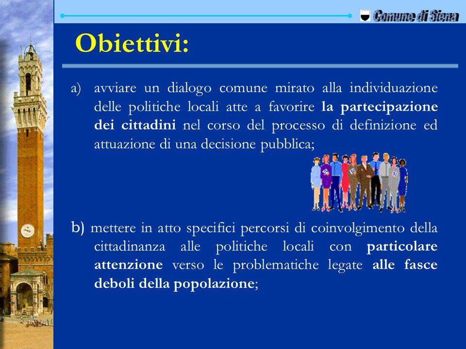 a) a)avviare un dialogo comune mirato alla individuazione delle politiche locali atte a favorire la partecipazione dei cittadini nel corso del process