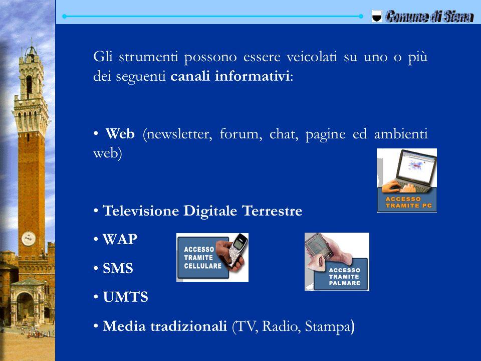 Gli strumenti possono essere veicolati su uno o più dei seguenti canali informativi: Web (newsletter, forum, chat, pagine ed ambienti web) Televisione
