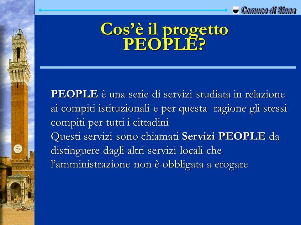 Cosè il progetto PEOPLE? PEOPLE è una serie di servizi studiata in relazione ai compiti istituzionali e per questa ragione gli stessi compiti per tutt